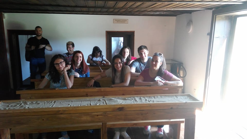 Students of specialities Economics of Tourism and Economics of Tourism in English held an Open Lesson in the classroom of Dorosieva House in Koprivshtitsa where is organized a permanent exposure of the educational activity over the Bulgarian Revival <i>(in the picture below)</i>.