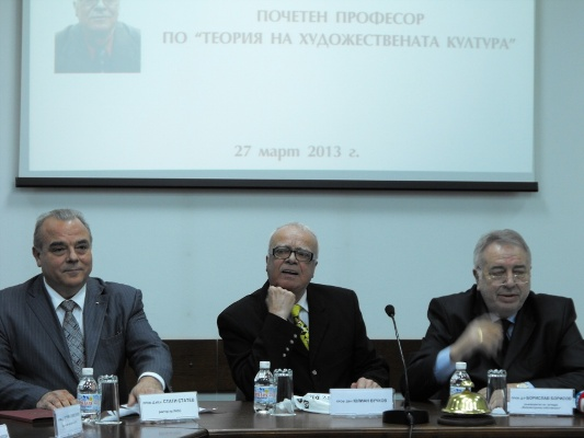 <i>During the ceremony (from the left to the right): Prof. Statty Stattev, Prof. Yulian Vuchkov and Prof. Borislav Borisov</i>