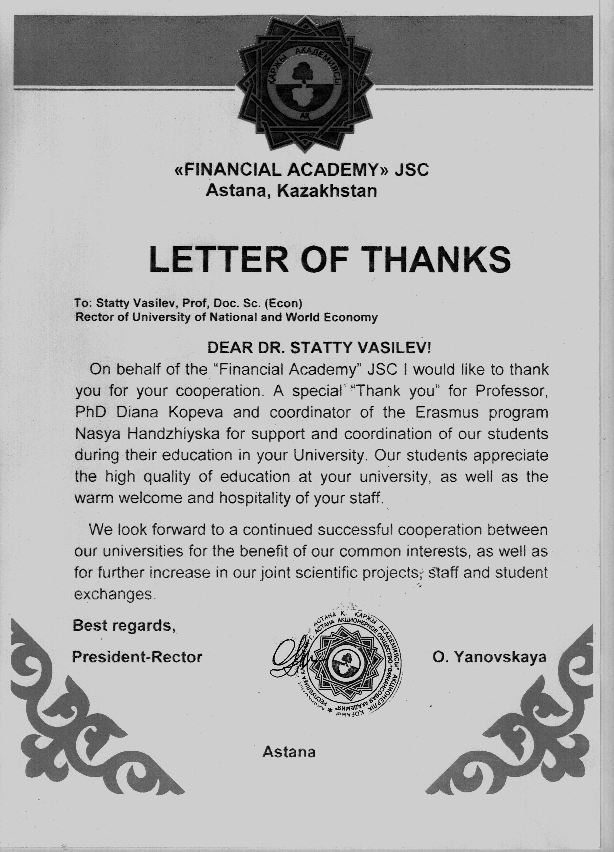 Unwe prof stattev received a letter of thanks by the rector of stattev received a letter of thanks by the rector of the financial academy in astana thecheapjerseys Gallery