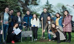 Students from the Eco Club UNWE Planted A White Pine Tree in the University Yard